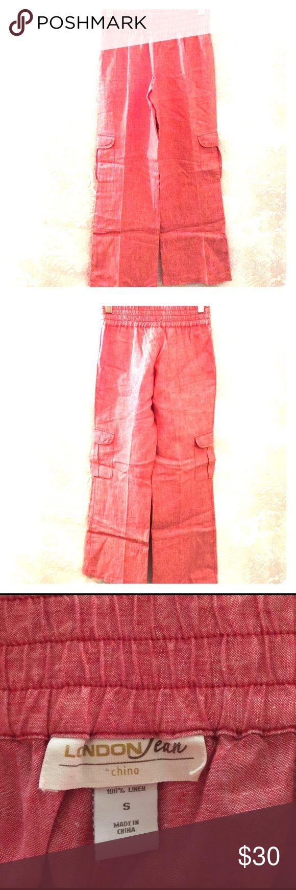 LONDON JEAN CHINO 100% Linen Pants LONDON JEAN CHINO:  Women's Size Small Linen Cargo Pants LONDON JEAN chino Pants Wide Leg