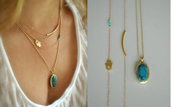 Set of 3 Layering Necklaces 14K Gold Filled Tube Bar by maldemer
