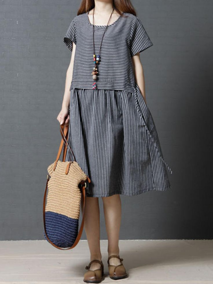 Casual Striped Loose O-neck Short Sleeve Women Dress at Banggood