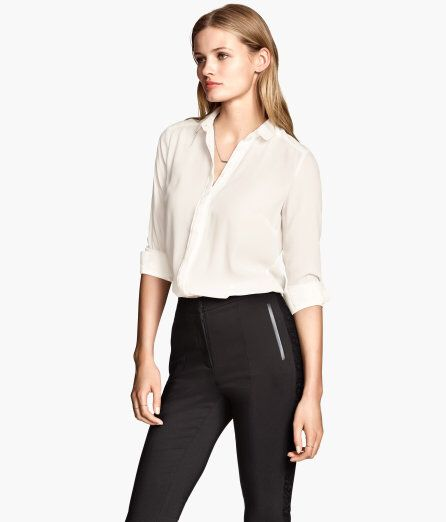 777658c43394 H&M women's office wear Fitted Blouse White business cute fashion fall  winter professional | Sexy office wear | Women's fashion leggings, Fashion,  ...