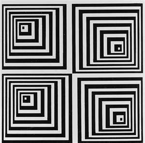 Optical illusion quilt in black and white