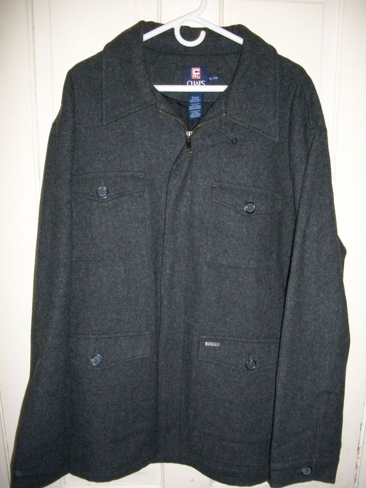 Mens Ralph Lauren Chaps XL Charcoal Wool Coat #RalphLaurenChaps #Peacoat
