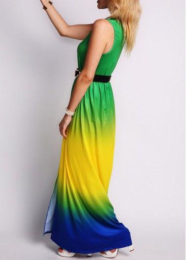 Hundiendo sin mangas de cuello de hendidura Diseño Vestido largo :: Fashionerly