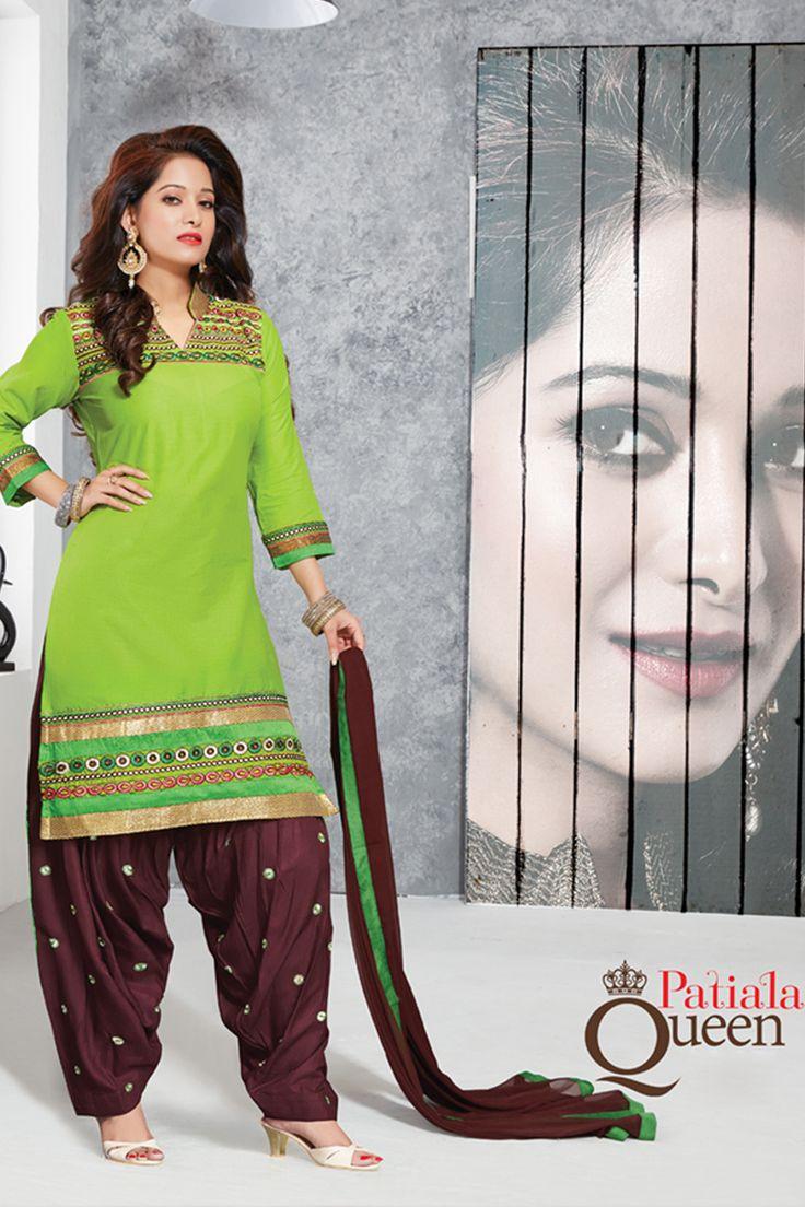 Designer functional wear green cotton punjabi style patiyala dress with embroidary work...