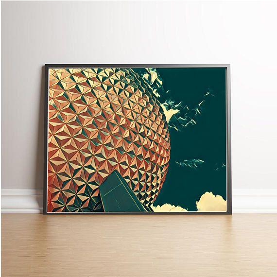 Epcot Spaceship Earth Styled Print PrintableWall