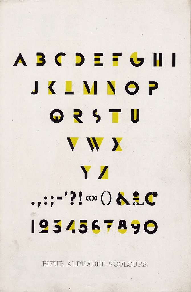 • Ended up designing his own typefaces (Bifur) a typeface that suggested the letters but didn't actually have them there • Focused on a total integration of word and image
