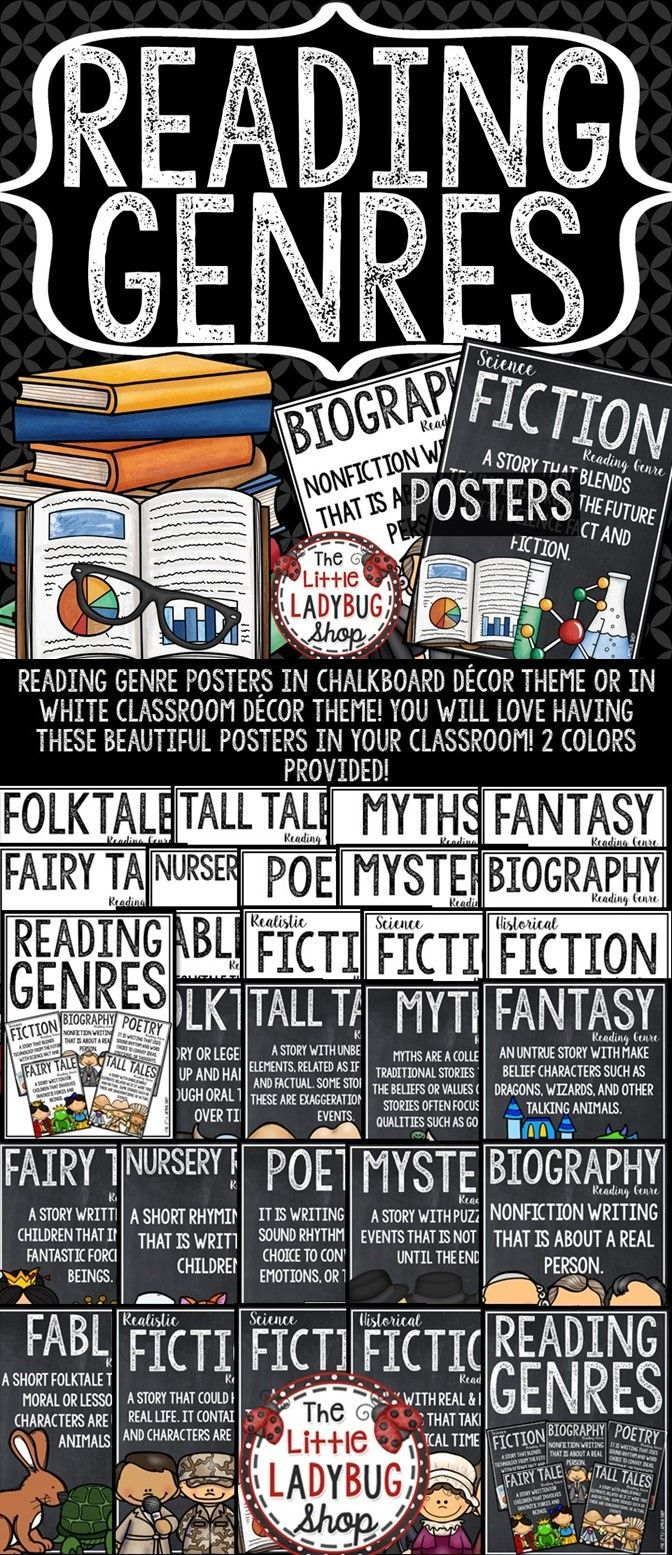These beautiful Reading Genre Posters in chalkboard décor theme or in white classroom décor theme are PERFECT for your classroom! You will love having these Reading Genre Anchor Charts in your classroom on display!