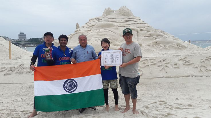 sudam pradhan international sand artist  got 2nd position at  international sand art festival at japan 2016