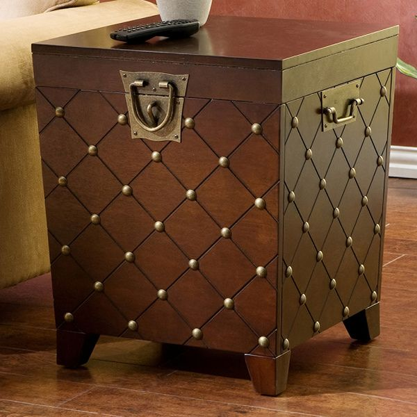 Upton Home Nailhead Espresso End Table Trunk