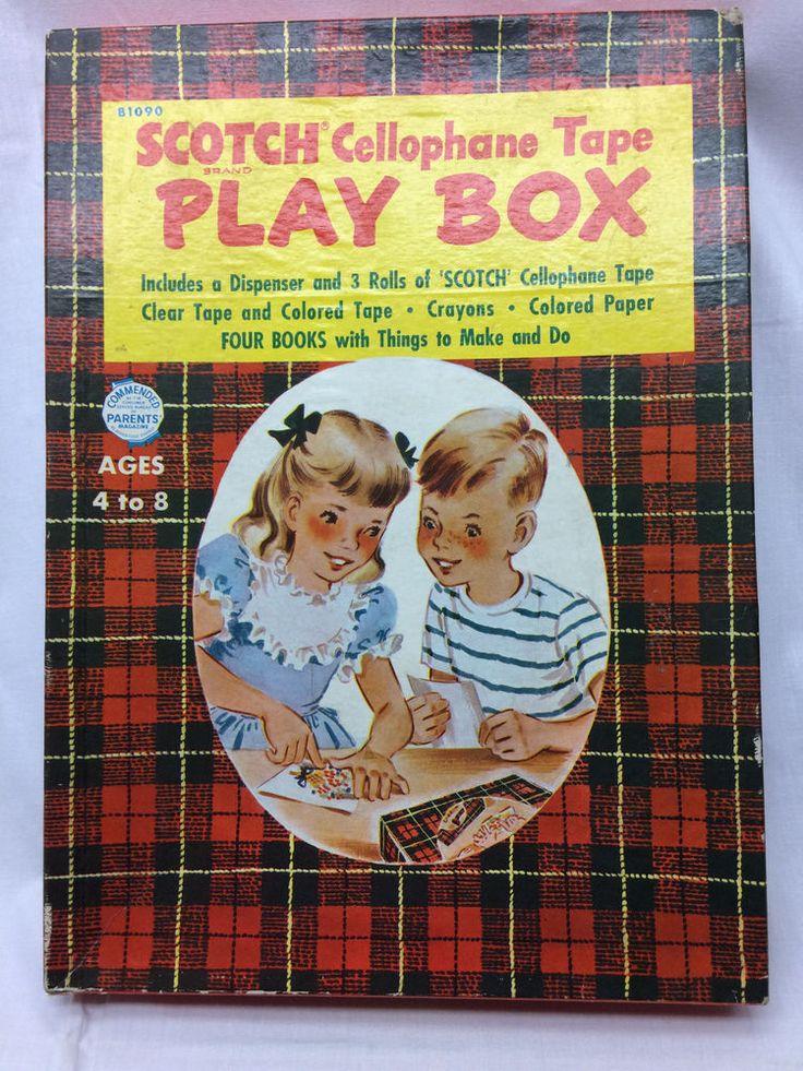 Vintage 1952 Children's Toy Scotch Cellophane Tape Play Box #ScotchTape