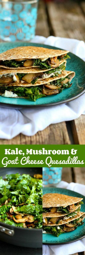Kale, Mushroom & Goat Cheese Quesadillas…A fantastic vegetarian recipe for lunch or appetizers! 239 calories and 6 Weight Watchers SmartPoints | cookincanuck.com