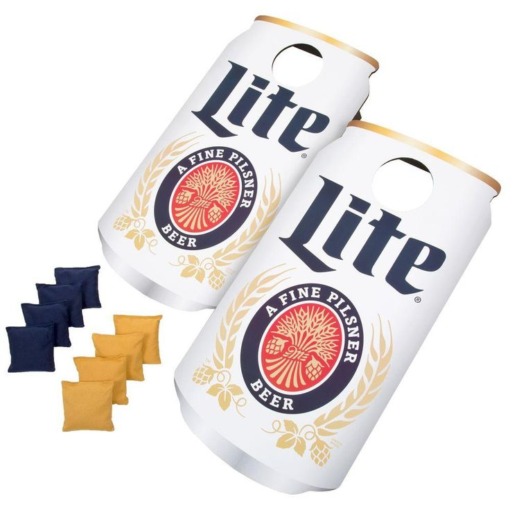 Miller Lite Can Cornhole Bean Bag Toss Game, Blue & Gold