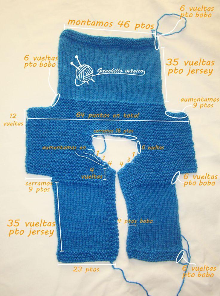 tutorial chaleco de bebe(1) azul en punto