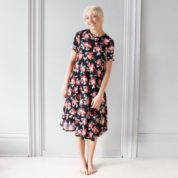 Dress - Black Floral Print Swing - Dresses - All Clothing - Women