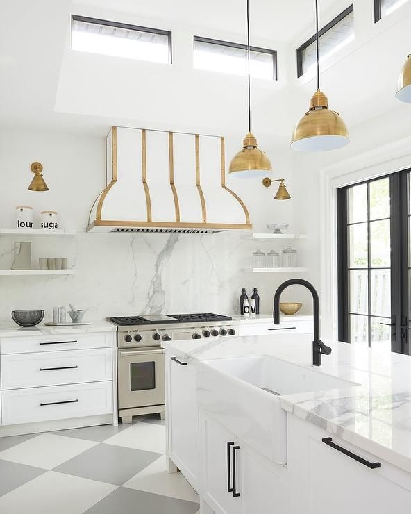 Stunning White And Gray Contemporary Kitchen With Gold
