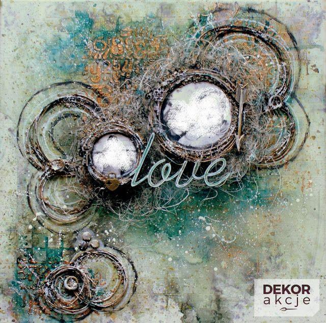 DEKORakcje: Mixed media canvas LOVE