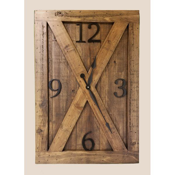 This Oversized Klara Farmhouse Wall Clock Is Made Of Solid Cedar Wood Built To Resemble A Rustic Bar Diy Clock Wall Farmhouse Wall Clocks Oversized Wall Clock