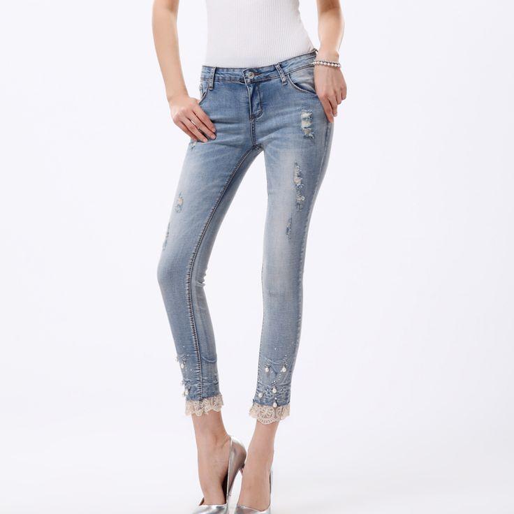 Pencil jeans mujer siete pantalones vaqueros rasgados flacos de la perla de encaje con la pernera pantalones pantalones vaqueros mujer pantalones vaqueros y