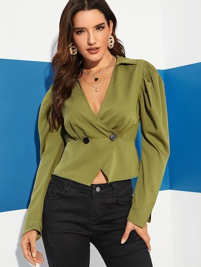 425f6d6954e Gigot Sleeve Double Breasted Fitted Blouse in 2019