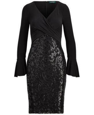 Lauren Ralph Lauren Floral-Sequin Dress - Black 12