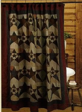 PRIMITIVE STAR QUILTED COTTON FABRIC SHOWER CURTAIN 72 X By CHOICES QUILTS