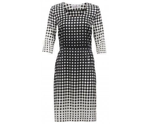 Dressfactor F-line jurk zwart witte zijde