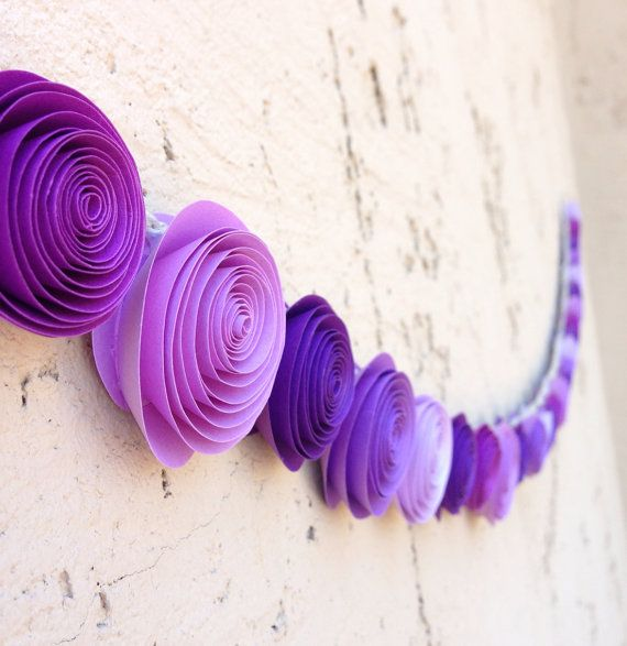 purple paper rose garland for wedding baby shower or party on etsy 2200 diy in 2018 pinterest wedding party and purple