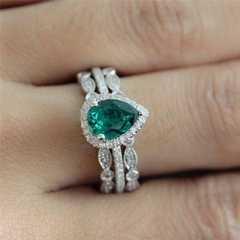 Wedding Ring Set of 6X8mm Pear Shaped Emerald Engagement Ring and 2 Diamonds Bezel Half Eternity Ring - Vogue Gem