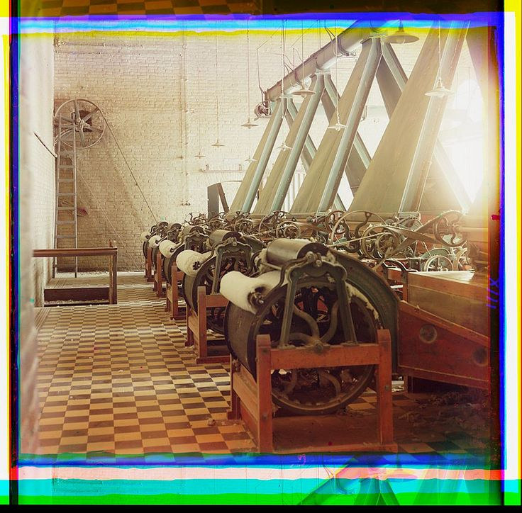 [Cotton textile mill interior with machines producing cotton thread, probably in Tashkent] (LOC) | Flickr - Photo Sharing!