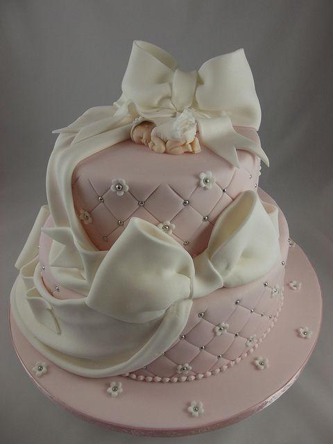 Pink Christening Cakes | Baby pink Christening cake