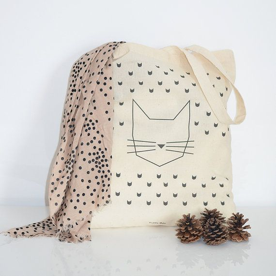 Cat Tote Bag by @PetiteMila on Etsy, €14.00 #tote ~bag #cat #illustration