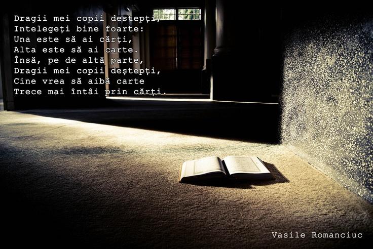 Dragii mei copii destepți, Intelegeți bine foarte: Una este să ai cărți, Alta este să ai carte. Însă, pe de altă parte, Dragii mei copii deștepți, Cine vrea să aibă carte Trece mai întâi prin cărți.  - Vasile Romanciuc, poet din Republica Moldova