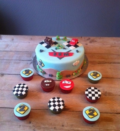 Cars cake with cupcakes By Taaartjes on CakeCentral.com