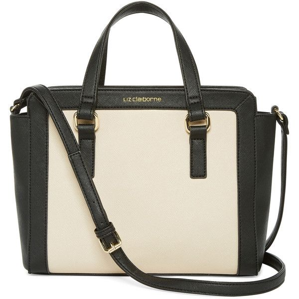 Liz Claiborne Lafayette Crossbody Satchel (€32) ❤ liked on Polyvore featuring bags, handbags, crossbody purse, crossbody satchel, top handle satchel, white handbags and satchel handbags
