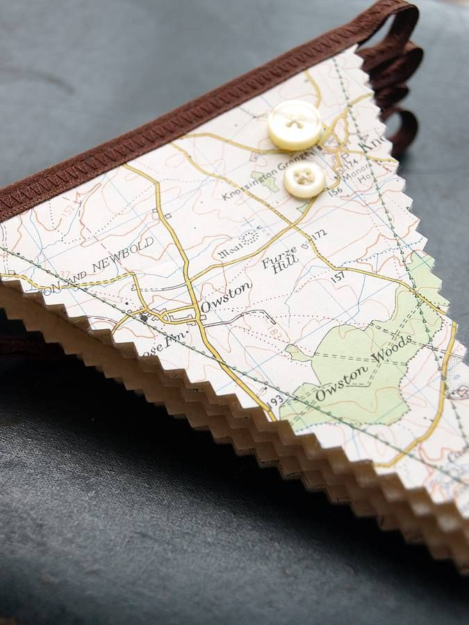 Travel themed bunting with button detail. Going to use map from our favorite places.