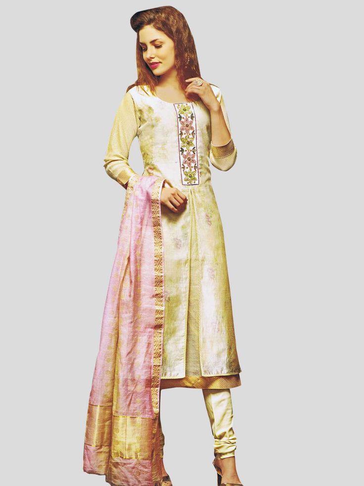 Double Layered Slit Cut Pearl work Churidar Suit  #partywear #designerdress #unique #stylish #FeelRoyal