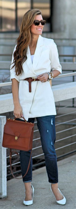 Blue And White Outfit Idea by Chic Street Style