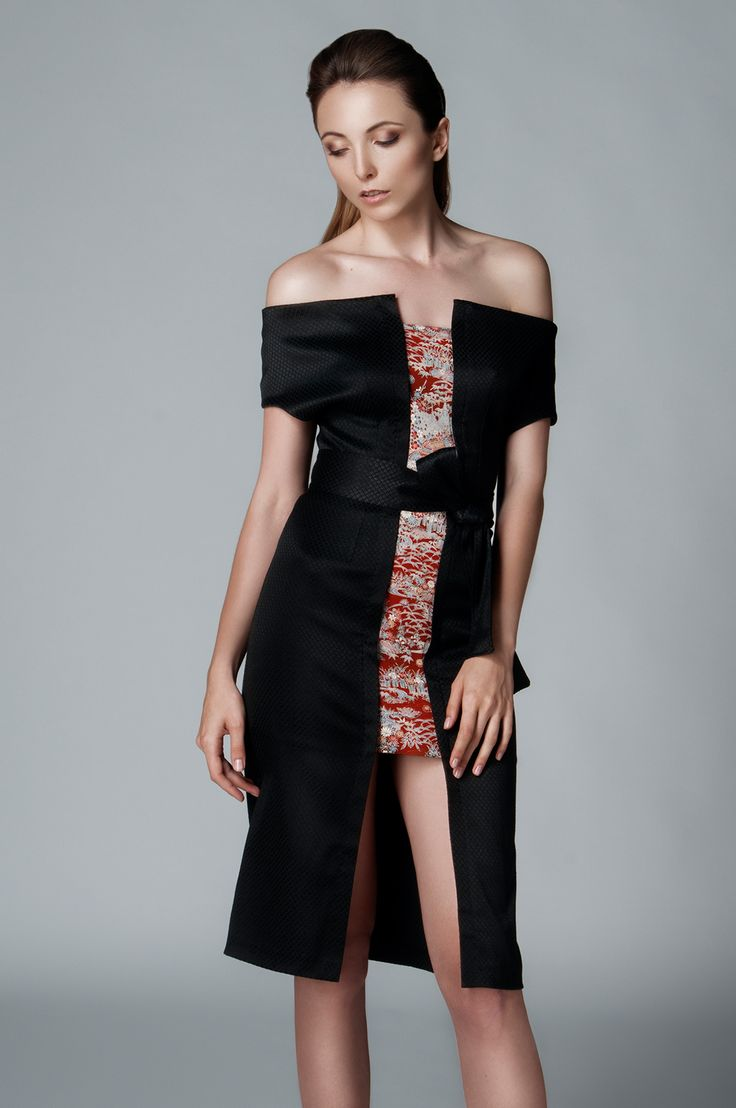 AUTHENTIC SILKS FROM JAPAN IN LEMICHÉ F/W 2016 COLLECTION - OFF-SHOULDER FITTED JACQUARD DRESS