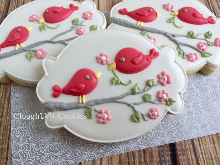 """399 Likes, 22 Comments - Amy Clough (@amy_cloughd9cookies) on Instagram: """"The over 70* weather in Maryland has me ready for spring! Bring on the birdies! #decoratedcookies…"""""""