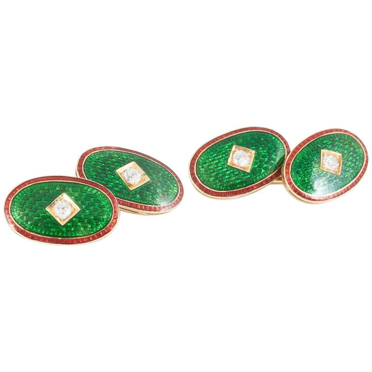 Late 19th Century Green and Red Enamel Diamond Gold Cufflinks, circa 1890   From a unique collection of vintage cufflinks at https://www.1stdibs.com/jewelry/cufflinks/cufflinks/