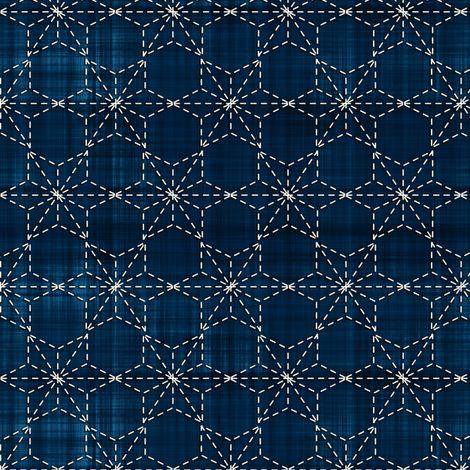 Sashiko: Tobi asa-no-ha - Scattered hemp leaf fabric by bonnie_phantasm on Spoonflower - custom fabric