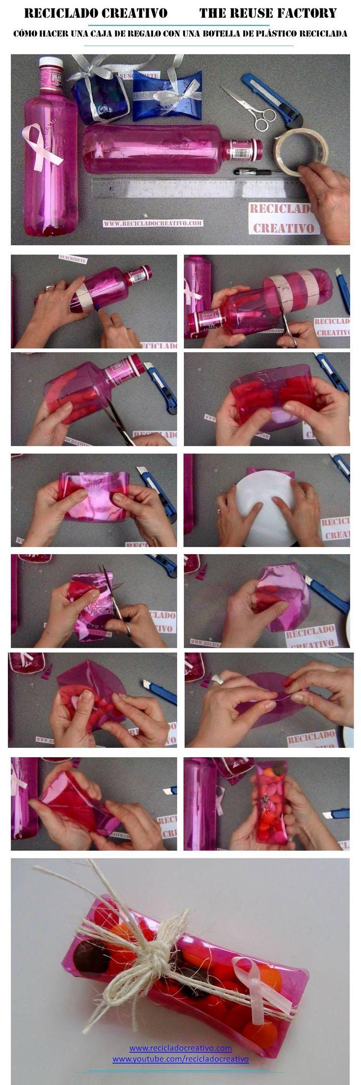 Cómo hacer una bombonera con forma de almohada con una botella rosa  https://youtu.be/O0VQfC530yk