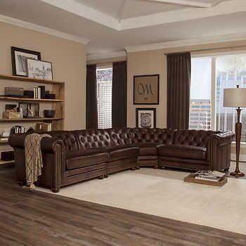 allington 4 piece top grain leather sectional brown in 2019 rh pinterest com