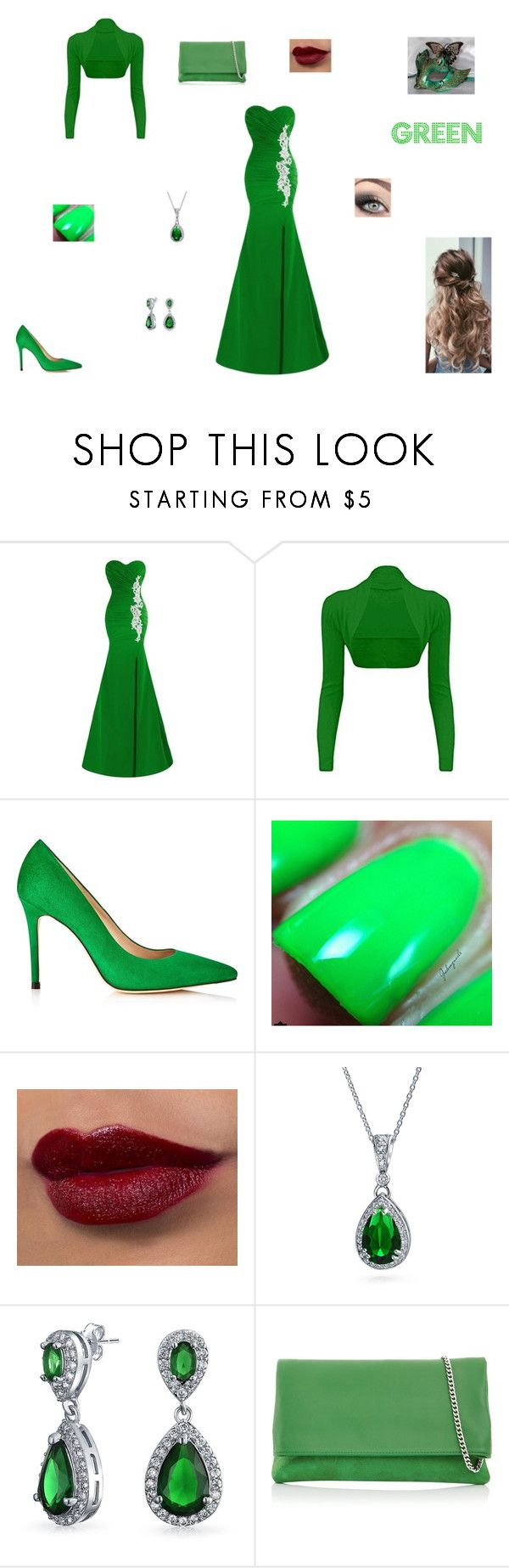 """""""Green Masquerade"""" by www-nyny ❤ liked on Polyvore featuring Masquerade, L.K.Bennett, Bling Jewelry and Karen Millen"""
