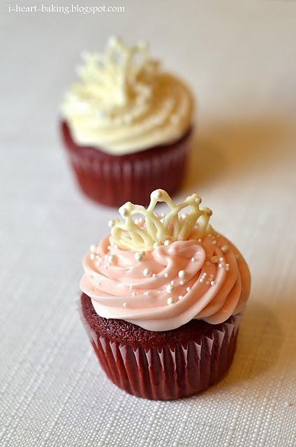 princess cupcakesPrincess Cupcakes, Heart Baking, Birthday, White Chocolates, Princesses Cupcakes, Cupcakes Toppers, Chocolates Cupcakes, Chocolates Tiaras, Red Velvet Cupcakes