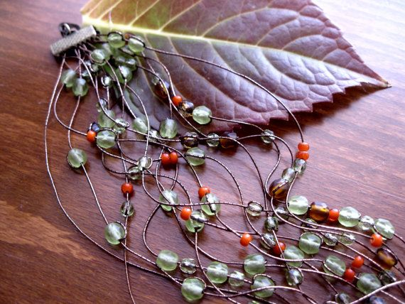 Falling leavesmetallic brown green orange bracelet by Planeteer