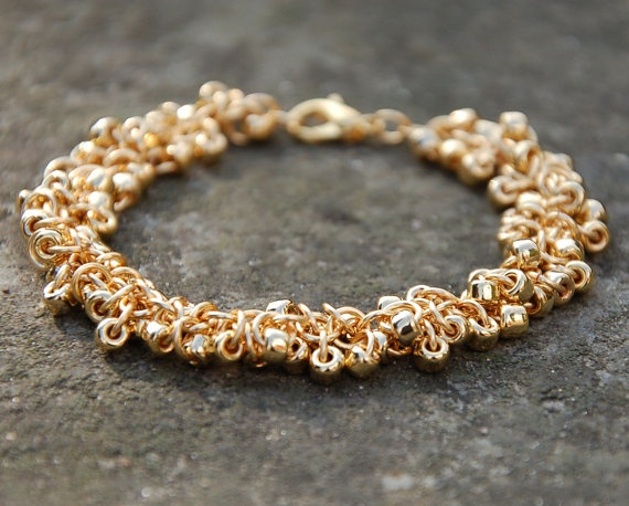 Gold Plated Glass Seed Bead Chainmaille Bracelet from Enchanted Loot.
