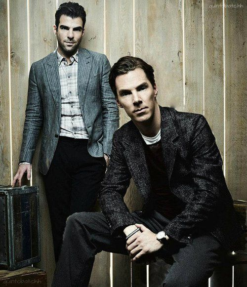 Zachary Quinto and Benedict Cumberbatch, falling in love with Quinto in American Horror Story and Star Trek into Darkness. <3