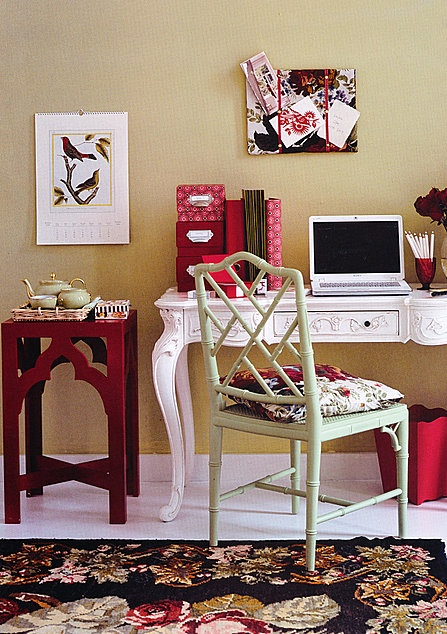 girly office.  great place to do something creative!Girly Offices, Decor Ideas, Warm Colors, Convivial Interiors, Decor Pin, Desks, Offices Decor, Accent Tables, Offices Interiors