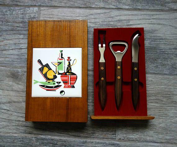 Midcentury Barware Set Set of Stainless Steel Fork Knife in Wood Box, Made in Japan